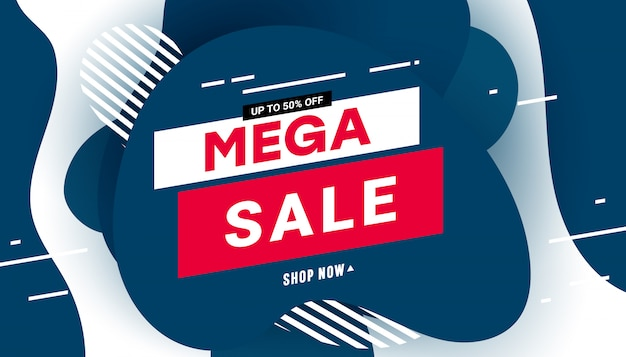 Modern mega sale poster with speed liquid elements