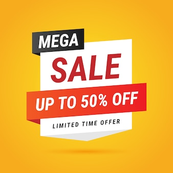 Modern mega sale yellow banner design