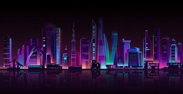 Современный мегаполис на реке ночью.