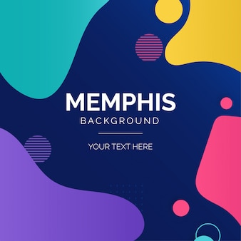 Modern memphis background with colorful shapes