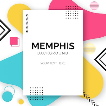 Modern memphis background with fluid shapes
