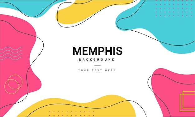 Modern memphis background with minimal memphis style shapes
