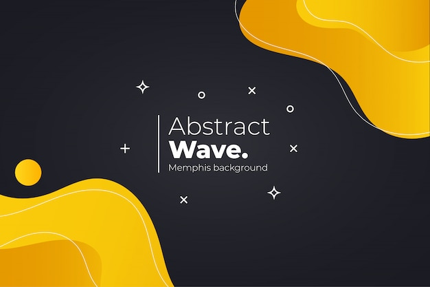 Modern memphis background with wavy shapes