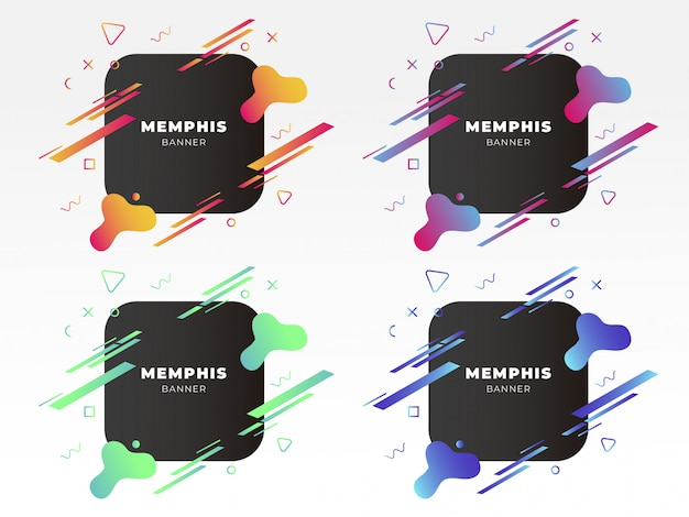 Modern memphis banner with abstract shapes