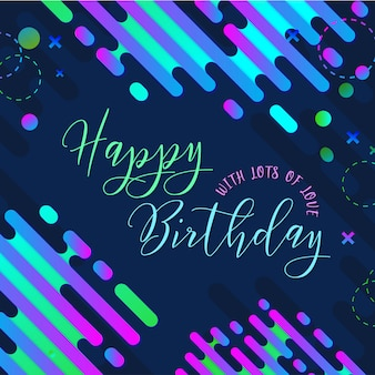 Modern memphis happy birthday poster background