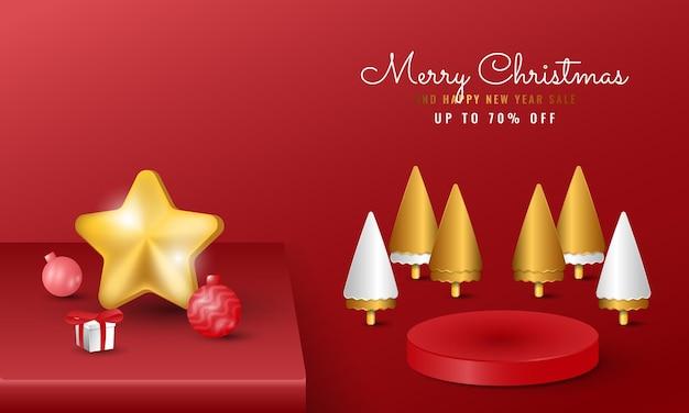 金色の木と星とモダンなメリークリスマスと新年あけましておめでとうございますのバナー