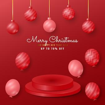 ぶら下がっているボールと風船とモダンなメリークリスマスと新年あけましておめでとうございますのバナー