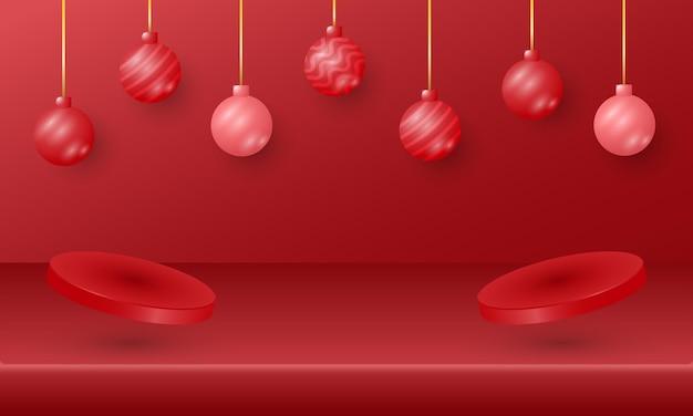 ハンギングボールとデュアル表彰台とモダンなメリークリスマスと新年あけましておめでとうございますのバナー
