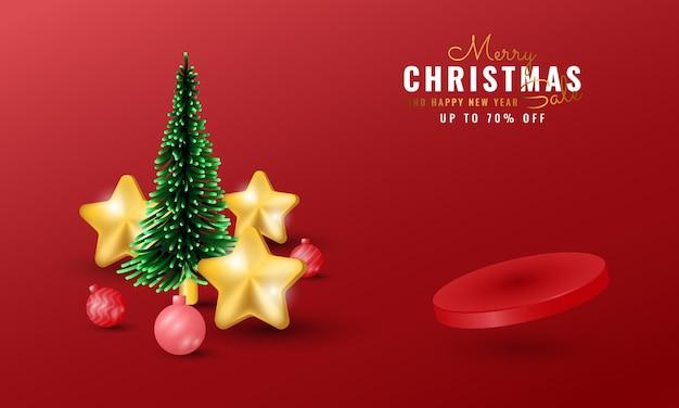 表彰台、星と木の装飾が施されたモダンなメリークリスマスと新年あけましておめでとうございますのバナー