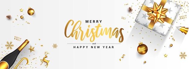 현대 메리 크리스마스와 새 해 복 많이 인사말 카드 디자인, 황금 장신구와 흰색 바탕에 선물 상자 겨울 디자인.