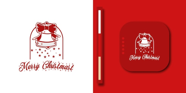 Современный веселый новогодний фон с дизайном логотипа колокольчика