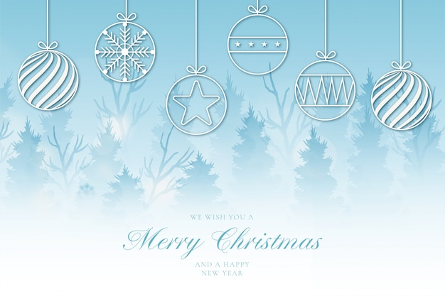 Modern merry christmas background with cute landscape