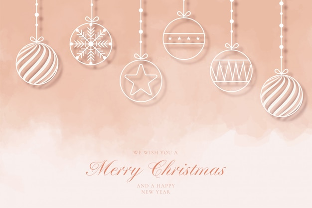 Modern merry christmas background with line balls