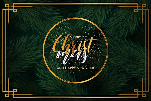 Modern merry christmas background with luxury frame