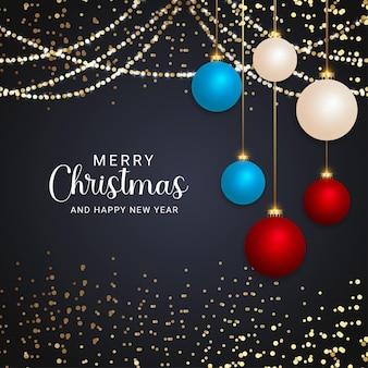 현실적인 크리스마스 공 크리스마스 조명과 검은 배경과 현대 메리 크리스마스 배경