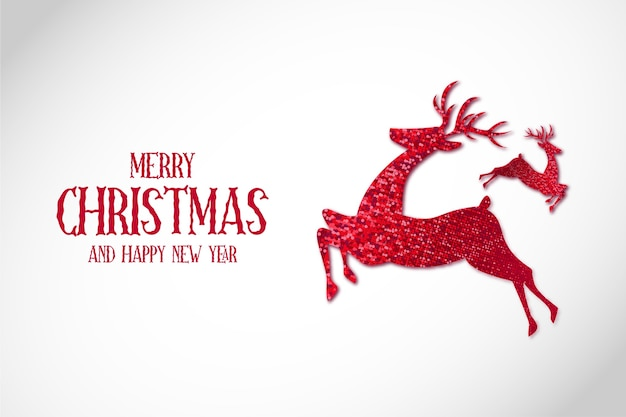 Modern merry christmas background with reinder christmas red