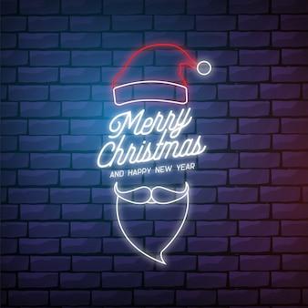Современная веселая рождественская открытка в неоновом стиле