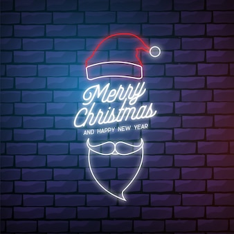 Modern merry christmas card in neon style