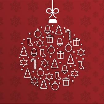 Modern merry christmas card with ball shape