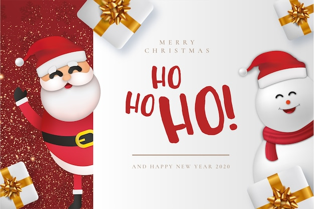 Modern merry christmas card con claus