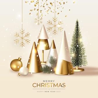 リアルな3dゴールデンクリスマスとモダンなメリークリスマスグリーティングカード