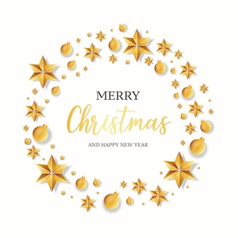 Modern merry christmas greeting card with realistic frame