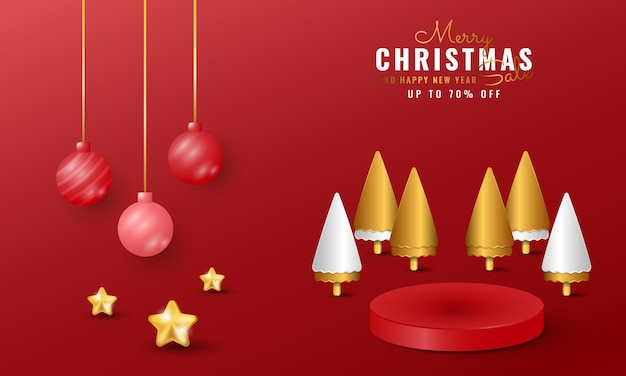 Modern merry christmas and happy new year banner with ball, star and golden tree decorations