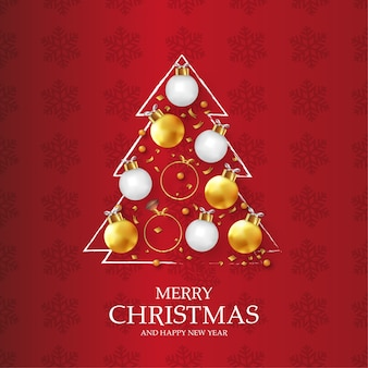 Modern merry christmas and happy new year card with original christmas tree