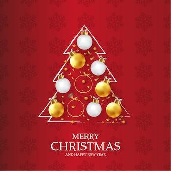 Carta moderna di buon natale e felice anno nuovo con albero di natale originale