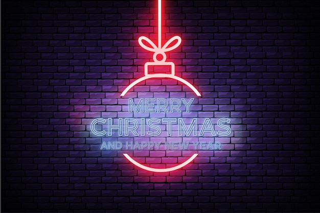 Modern merry christmas and new year card with realistic neon design