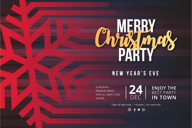 Modern merry christmas party event poster with snowflake