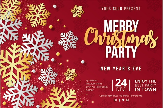 Modern merry christmas party poster template with snowflakes