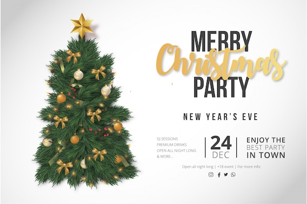 Modern merry christmas party poster template