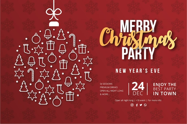 Modern merry christmas party poster