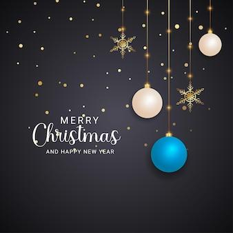 현대 메리 크리스마스 현실적인 흰색과 하늘색 크리스마스 공 크리스마스 조명