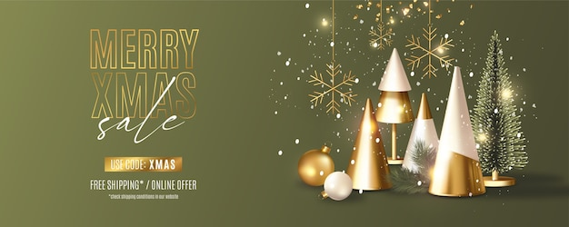 Modern merry christmas sale banner with realistic 3d christmas objects composition