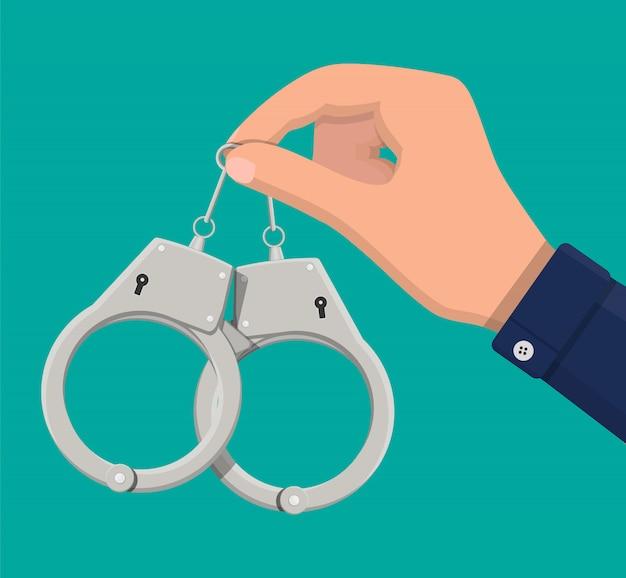Modern metal handcuffs.