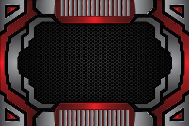 현대 금속 빨간색 은색 배경