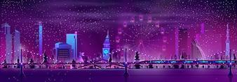 モダンな大都会の夜の風景漫画ベクトル