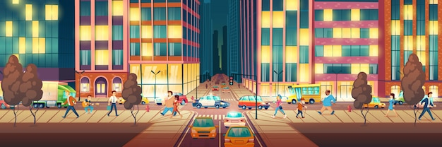 Modern metropolis street at evening time cartoon
