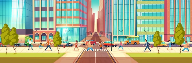 Modern metropolis street life cartoon vector concept with people hurrying in business at city street, townsfolk walking sidewalk, pedestrians passing crossroads, transport moving on road illustration