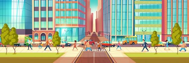 街の通り、歩道を歩く町民、交差点を通過する歩行者、道路図に移動する交通でビジネスを急いでいる人々と近代的な大都市ストリートライフ漫画ベクトルの概念