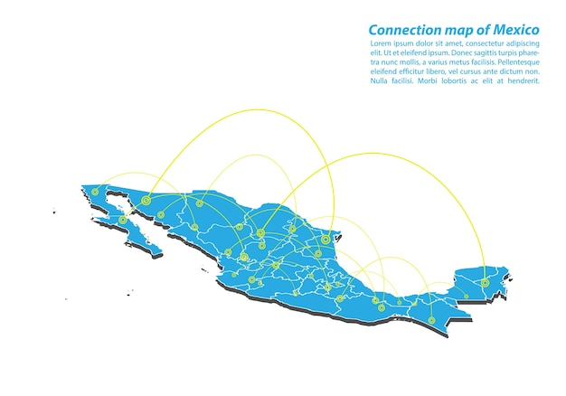 Modern of mexico map connections network design
