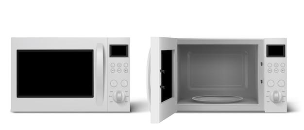 Forno a microonde moderno con porta aperta e chiusa