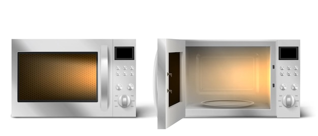 Modern microwave oven with open and closed door