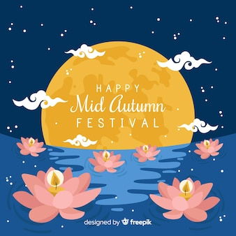 Modern mid autumn festival background concept