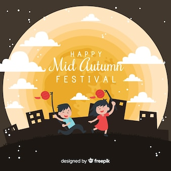 Modern mid autumn festival background design