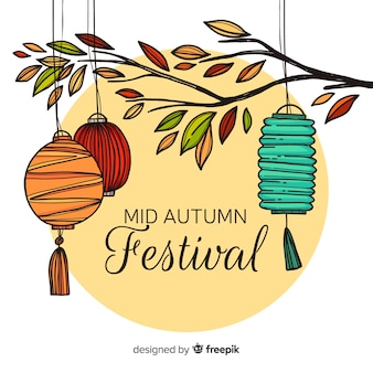 Modern mid autumn festival background in hand drawn style