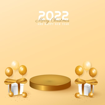 Modern minimal 2022 happy new year and merry christmas banner with podium, box and balloon