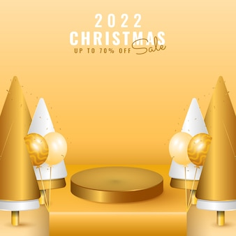 Modern minimal 2022 happy new year and merry christmas banner with podium stage, tree and balloon